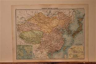 1873 Map of the Chinese Empire and Japan