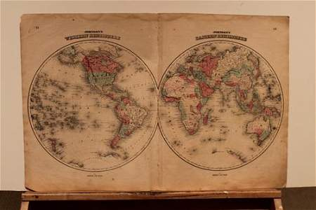 1859 World Hemispherical Map