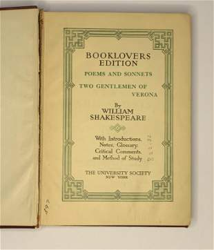 Book Lovers Edition Poems and Sonnets Two Gentlemen