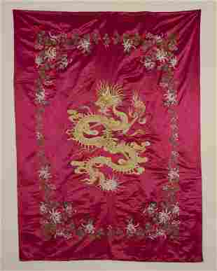 1930s Chinese Silk Embroidery Wall Hanging