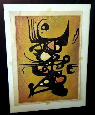 1960 Japan Large Abstract WB Print Wild Toshi Yoshida
