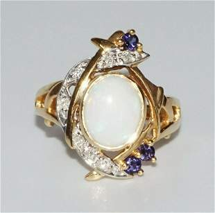 14k Yellow Gold Ring Sz 8 1 Opal 7 Diamonds 3 Tanzanite