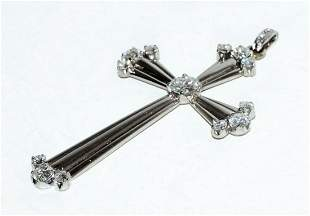White Gold Cross Pendant 16x Diamonds approx. 1.58ct.