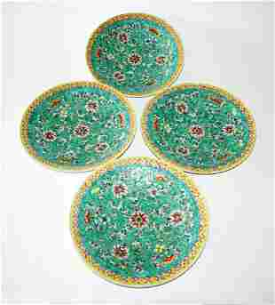 4x Chinese Plates Floral Bat Famille Rose Enamels Reign