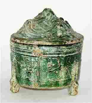 Chinese Han Dyn Green Tripod Hill Censer w. Iridescence