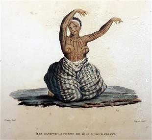 1840 French Engraving Print Femme dansant Iles Sandwich