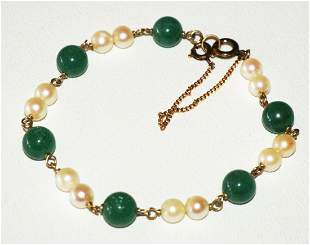 Vtg Chinese Gold-plated Bracelet 6 Jade Beads 12 Pearls