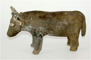 Chinese Han Dynasty Pottery Cow Bull w Repairs
