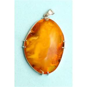 32g. Natural Baltic amber pendant, rim 875 silver