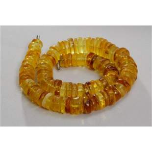 61g natural Baltic amber necklace button vintage