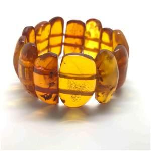 Stunning Unique Vintage Amber Bracelet made from Plate