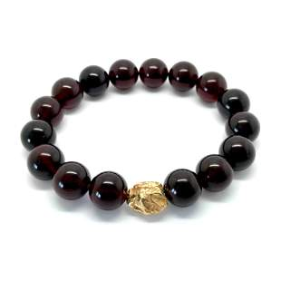 Bracelet from Baltic amber & goldplated silver