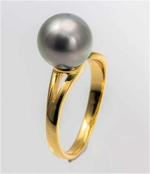 10x11mm Golden Green Tahitian Pearl - 925 Silver - Ring
