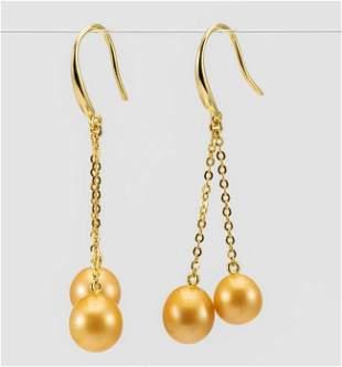 8x9mm Golden South Sea Pearl Drops - 925 Silver -