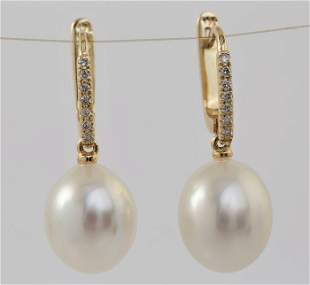 14 kt. Yellow Gold- 10x11mm White South Sea Pearls -