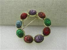 """Vintage Egyptian Simulated Scarab Brooch, 1.75"""", 1960's"""