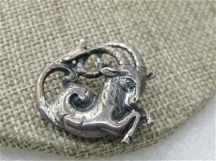 """Vintage Sterling Silver Capricorn Goat Brooch, 1"""", 6.10"""