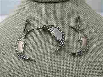 Vintage Sterling Silver Moon Brooch & Earrings Set,