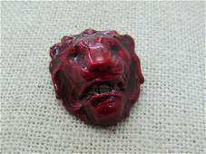 """Vintage Red Enameled Lion Tack Pin, 1980's, Appx. 1"""""""