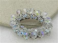 """Vintage Aurora Borealis Crystal Beaded Brooch, Oval, 2"""""""