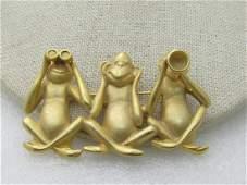 Vintage 3 Naughty Monkeys Brooch - See/Hear/Speak No