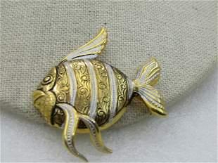 Vintage Damascene Angel Fish Brooch, 1960's-1970's