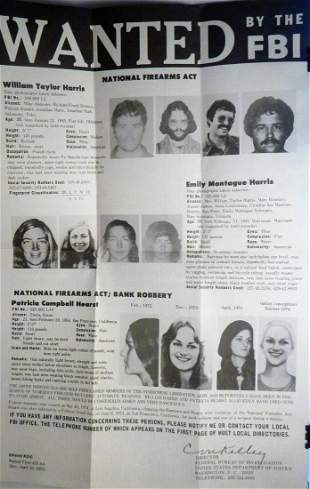 Original FBI WANTED POSTER Patty Hearst / Harris Apr