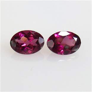 1.81 Ct Natural Rhodolite Garnet Oval Pair