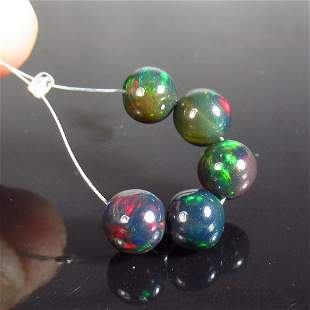 3.67 Ct Natural 5 Drilled Black Fire Opal Ball Beads