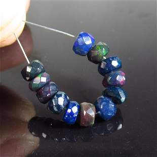 3.45 Ct Natural 12 Drilled Faceted Black Opal Beads