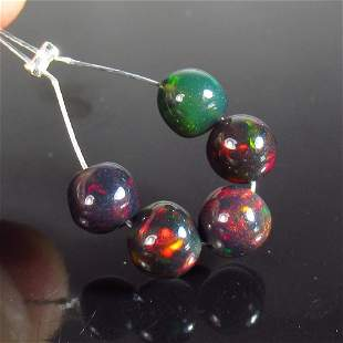 2.90 Ct Natural 5 Drilled Black Fire Opal Ball Beads