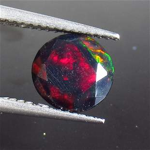 1.73 Ct Natural Ethiopian Black Fire Opal Round Cut
