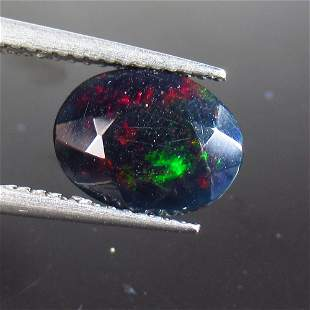 1.44 Ct Natural Ethiopian Black Fire Opal Oval Cut