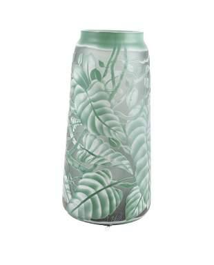 A Bohemian glass vase - Nordic design - Green leaves