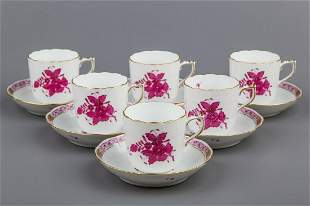 Set of Six Herend Chinese Bouquet Raspberry Coffee Cups