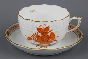 Herend Chinese Bouquet Rust Orange Tea Cup with Saucer