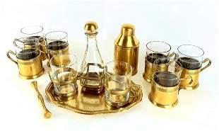 Brass Tea set, 12 Pieces