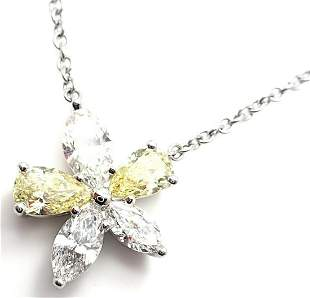 Authentic Tiffany & Co Victoria Platinum Yellow & White