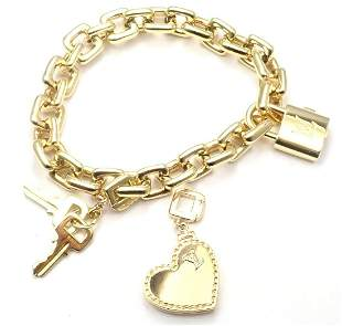 Authentic Louis Vuitton 18k Yellow Gold Padlock Heart