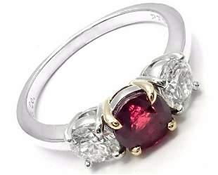 Authentic! Tiffany & Co Platinum 18k Gold Three Stone