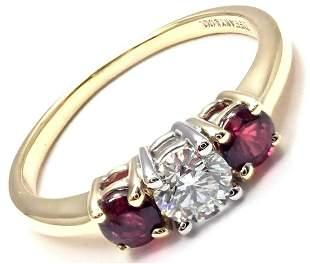 Authentic! Tiffany & Co 18k Gold Platinum Three Stone