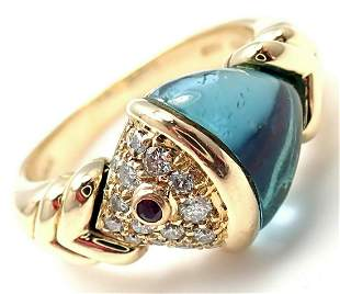 Authentic! Bulgari Bvlgari 18k Gold Diamond Blue Topaz