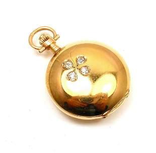 Vintage! Swiss Yellow Gold Diamond Ladies Pocket Watch