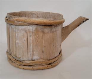 Unusual staved bucket with spout. 19th century