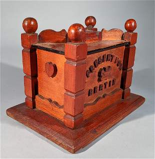 "Folky Carved Bank For ""Bertie"" Prince Albert"