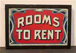 c. 1900 ROOMS TO RENT Sign