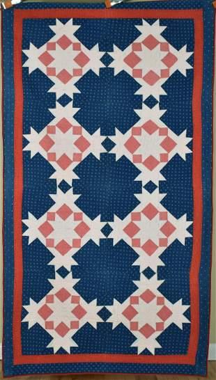 1880's Red, White & Blue Stars Quilt
