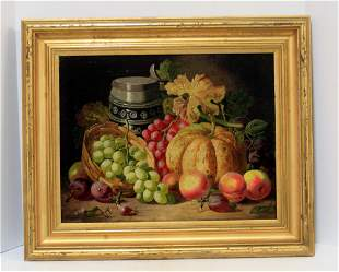 A mid 19th century England oil still life painting of