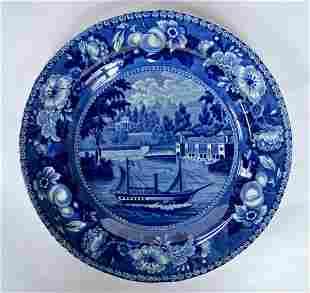 Staffordshire Plate - Dam and Waterworks Philadelphia -