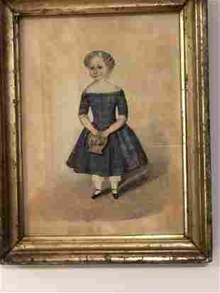 EARLY WATER COLOR ON PAPER OF A YOUNG GIRL IN BLUE